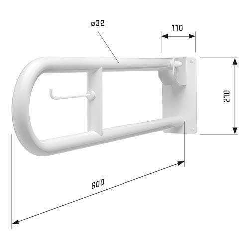SecuCare toiletbeugel (opklapbaar) 600 mm